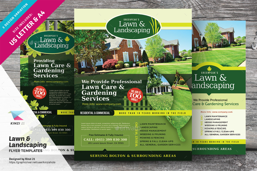 Lawn Landscaping Flyer Templates By Kinzishots Graphicriver