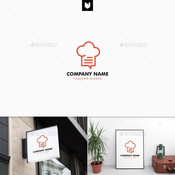 Outline Hat Chef Chat Recipe Talk Bubble Restaurant Logo - Restaurant Logo Templates