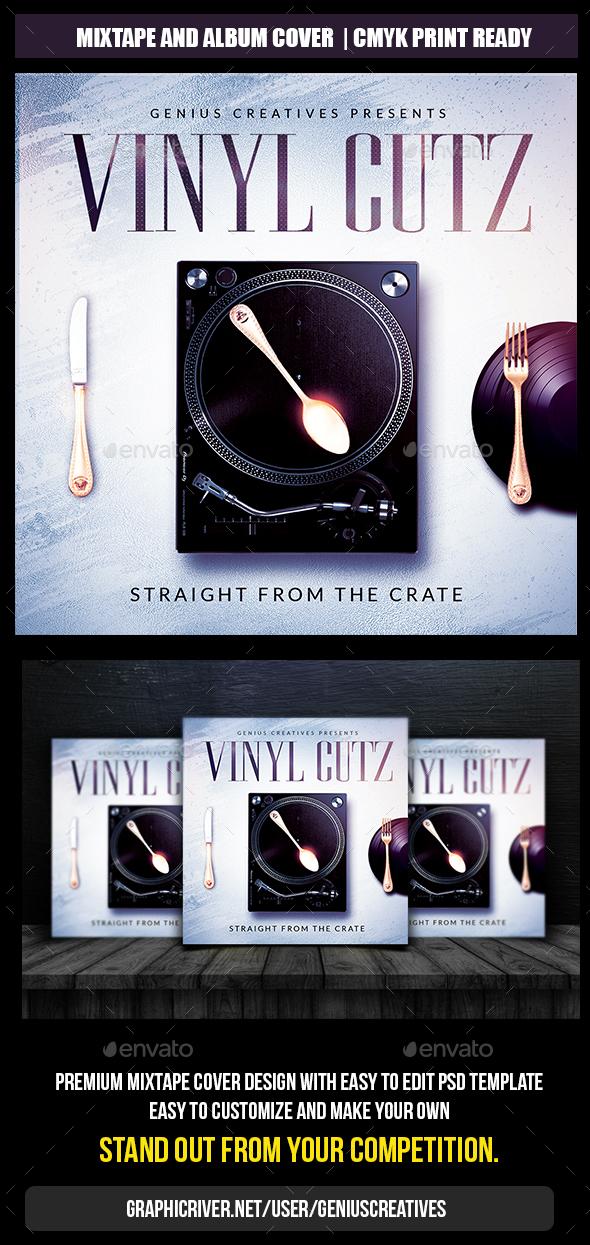 Vinyl Cutz Mixtape Cover Template - CD & DVD Artwork Print Templates
