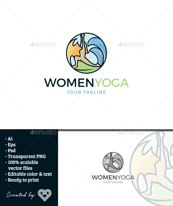 Women Yoga - Humans Logo Templates