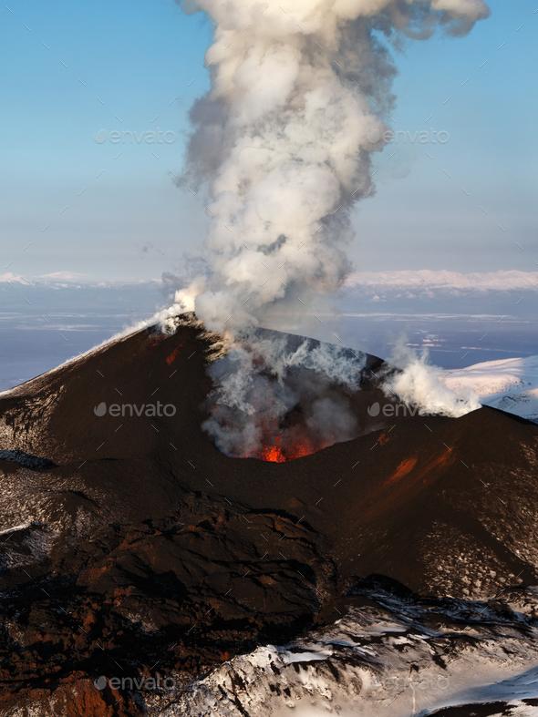 Aerial View of Stunning Scenery Eruption Volcano Landscape of Kamchatka Peninsula - Stock Photo - Images