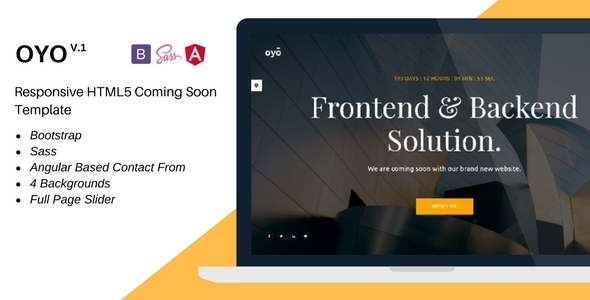 Oyo – Responsive HTML5 Coming Soon Template - Under Construction Specialty Pages