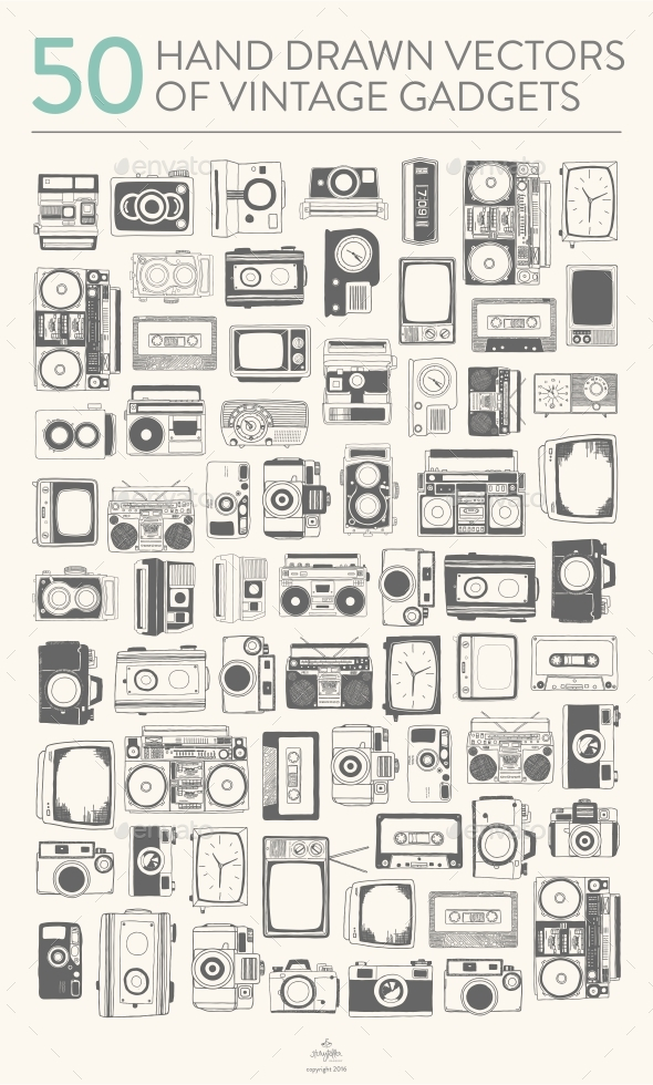 50 Vintage Gadgets - Man-made Objects Objects