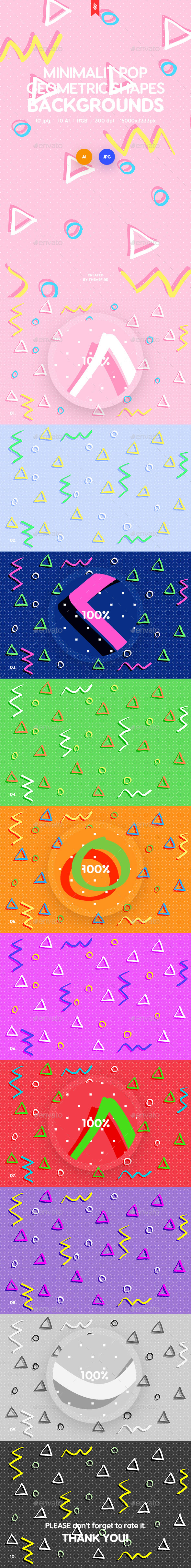 Minimalist Pop Geometric Shapes Backgrounds - Patterns Backgrounds