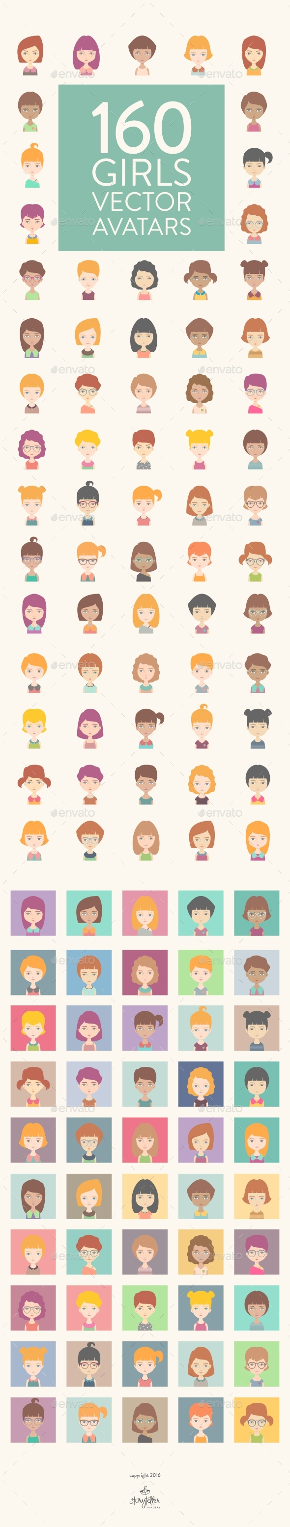 160 Girls Vector Avatars - People Characters