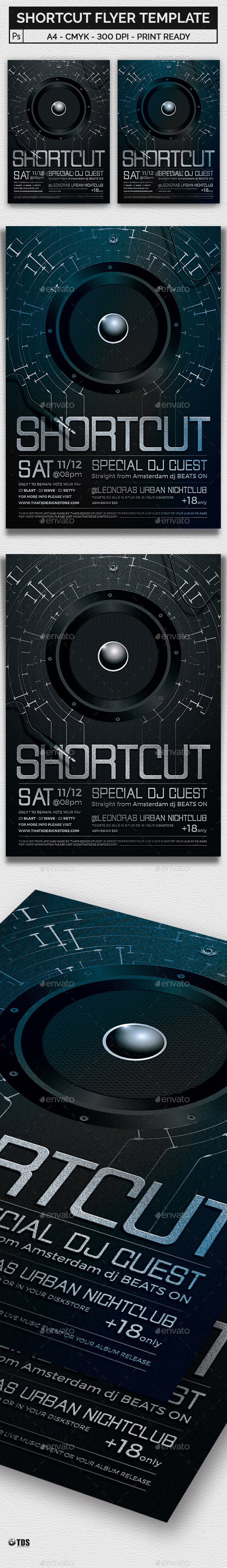 Shortcut Flyer Template - Clubs & Parties Events