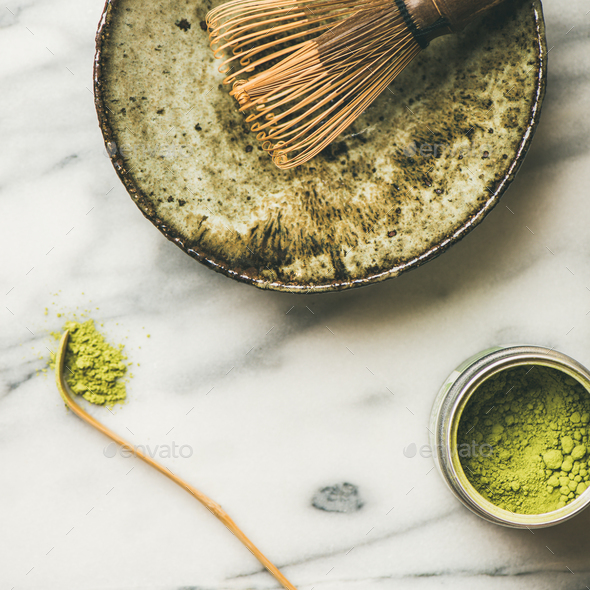 Japanese tools and bowls for brewing matcha tea, square crop - Stock Photo - Images