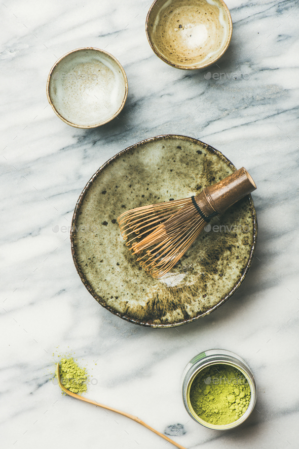 Japanese tools and ceramic bowls for brewing matcha tea - Stock Photo - Images
