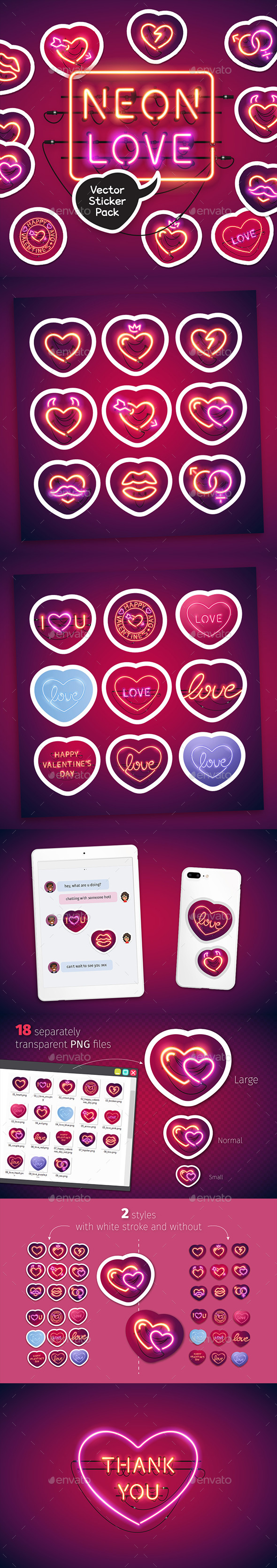 Neon Valentine's Day Sticker Icons Pack - Miscellaneous Icons