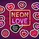Neon Valentine's Day Sticker Icons Pack