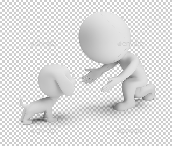 3D Small People - Communication with the Pet - Characters 3D Renders