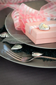 Valentines table setting in pink colour - PhotoDune Item for Sale