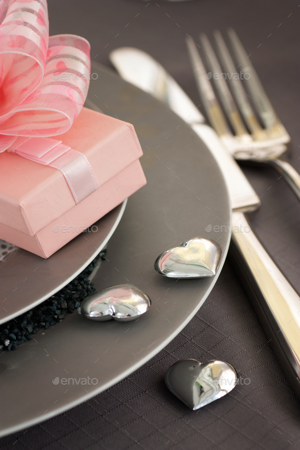 Valentines table setting in pink colour - Stock Photo - Images