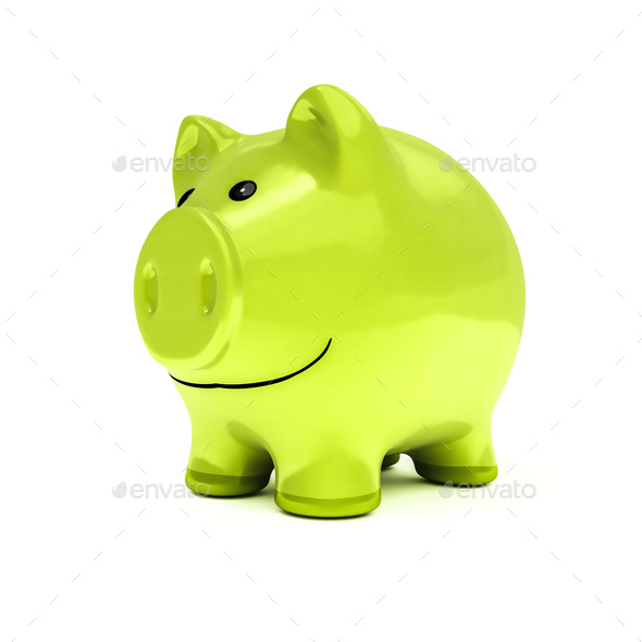 typical piggy bank in green color - Stock Photo - Images