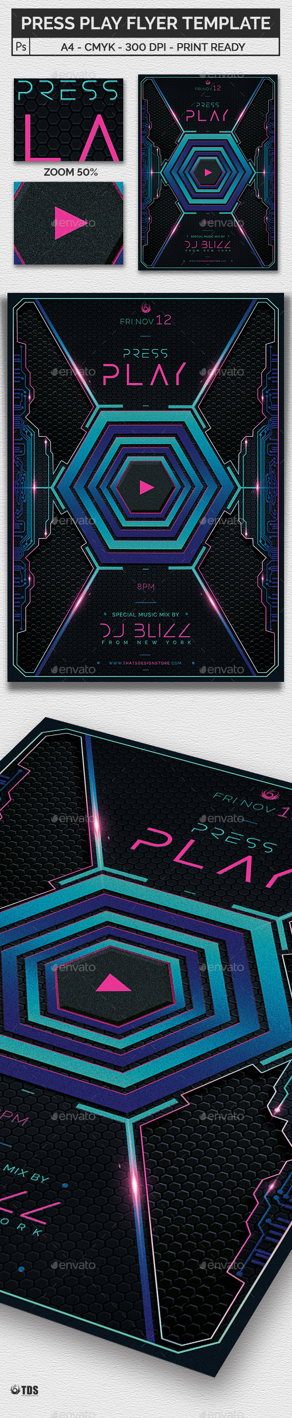 Press Play Flyer Template - Clubs & Parties Events