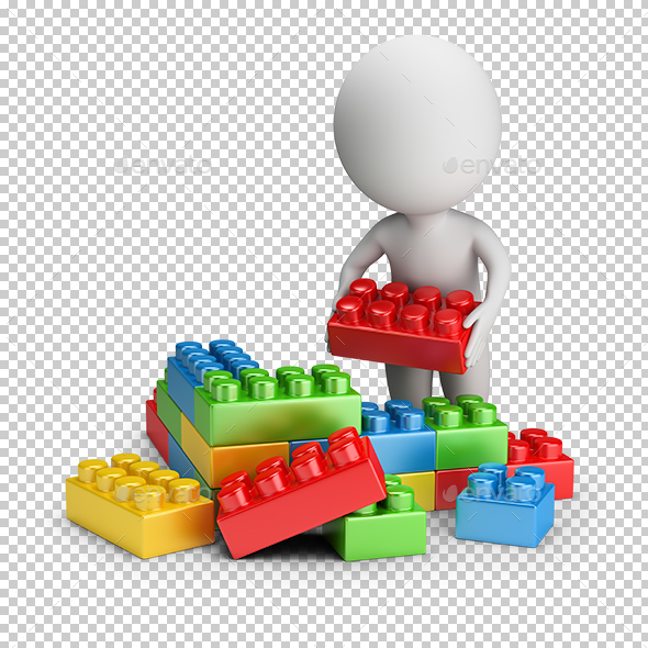 3D Small People - Toy Blocks - Characters 3D Renders