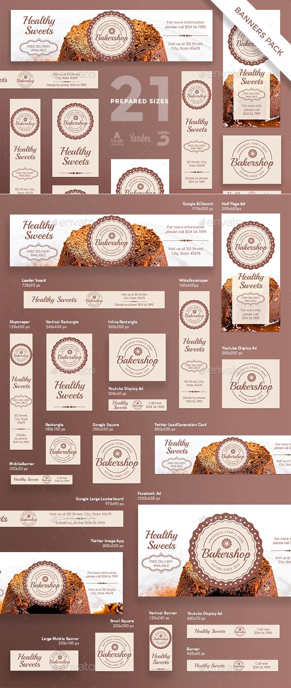 Baker Shop Banner Pack - Banners & Ads Web Elements
