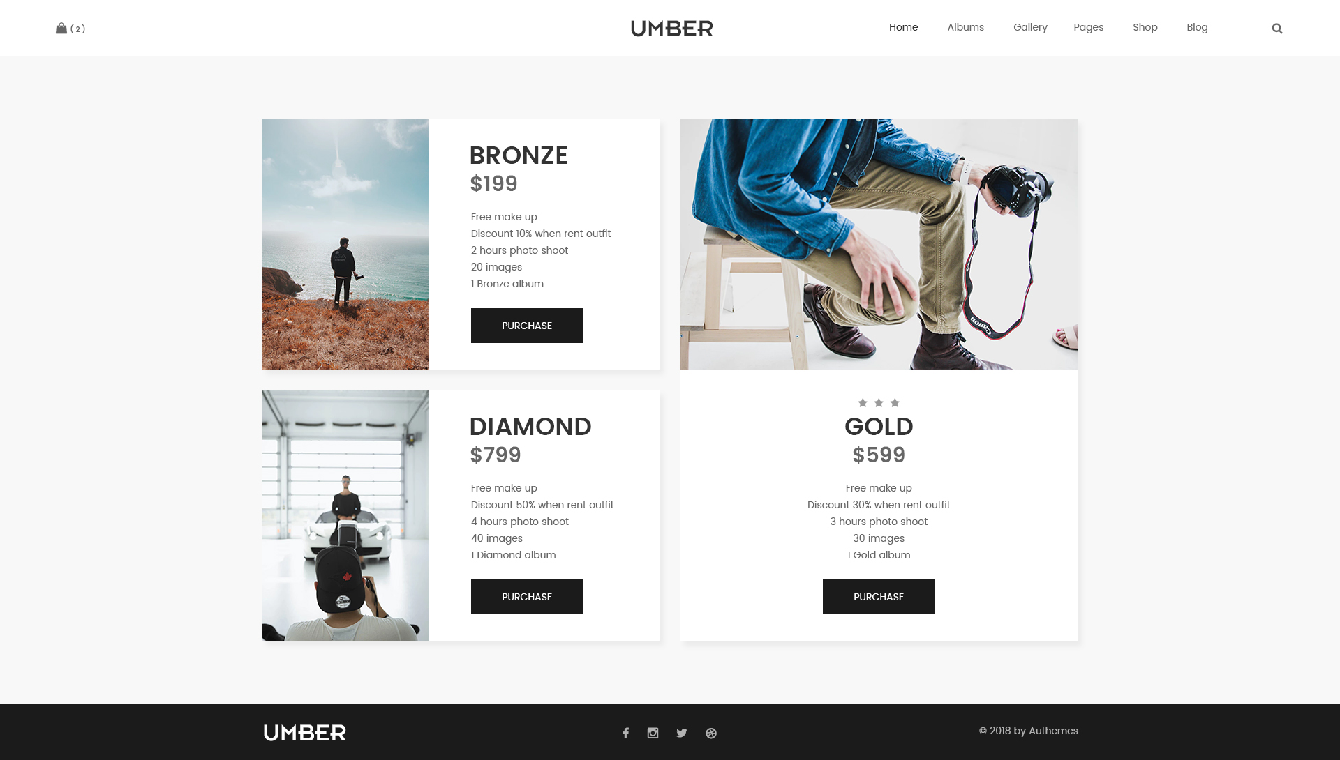 Umber Photography Photography PSD Template By AuThemes ThemeForest - Free pricing template for photographers