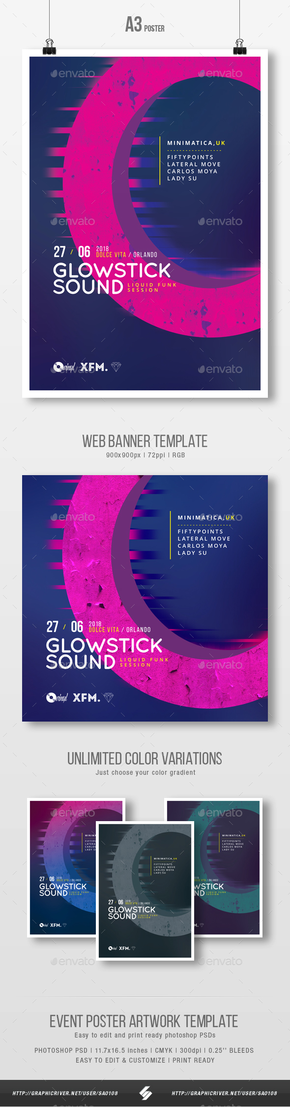 Glowstick Sound - Minimal Party Flyer / Poster Template A3 - Clubs & Parties Events