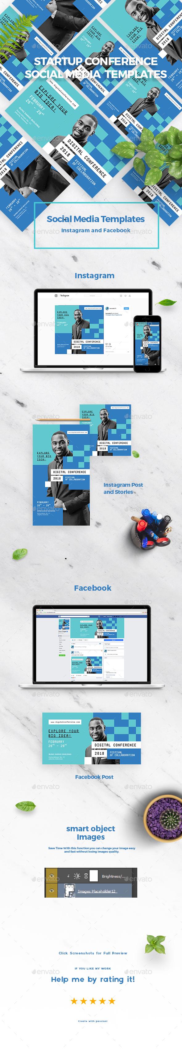 Startup Conference Social Media Templates - Social Media Web Elements