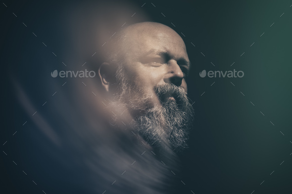 bearded bald man - Stock Photo - Images
