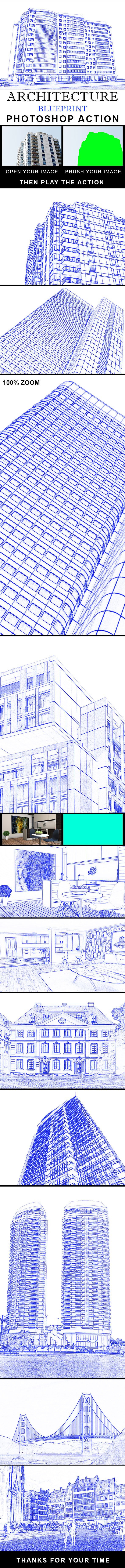 Architecture Blue Print Photoshop Action - Photo Effects Actions