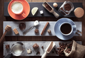 cup of coffee and ingredients on wood - PhotoDune Item for Sale
