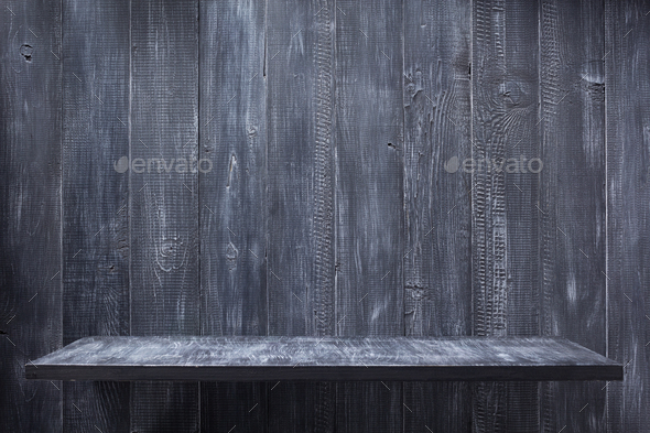 shelf at wooden background wall - Stock Photo - Images