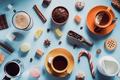 cup of coffee, tea and cacao at blue background - PhotoDune Item for Sale