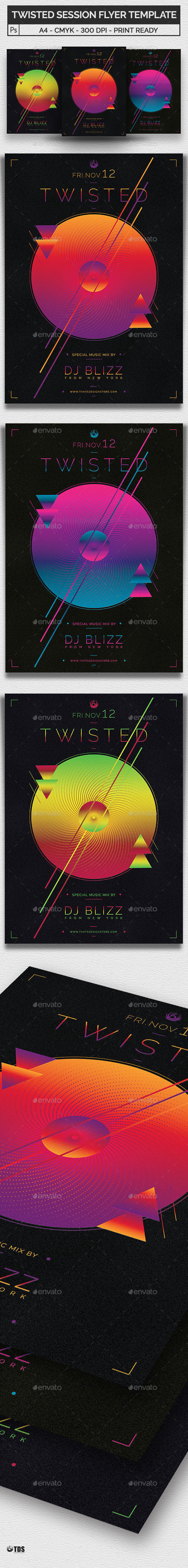 Twisted Session Flyer Template - Clubs & Parties Events