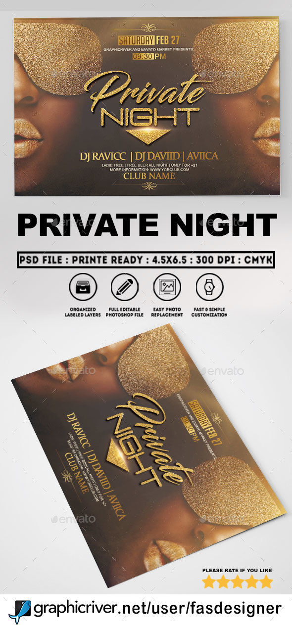 Private Night Flyer Template - Clubs & Parties Events