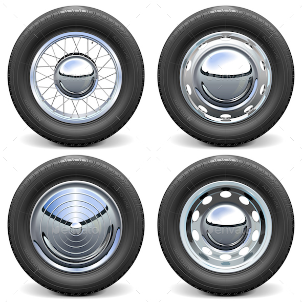 Vector Car Tires with Chrome Disks