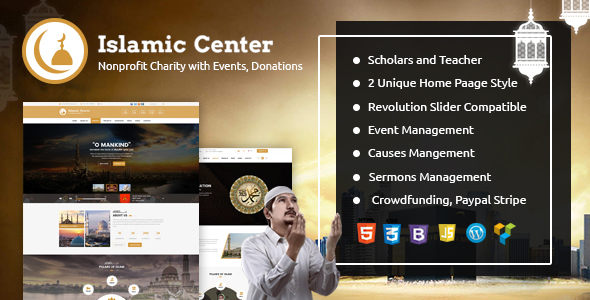 Islamic Center WordPress with Events Donations & Sermons - Nonprofit WordPress