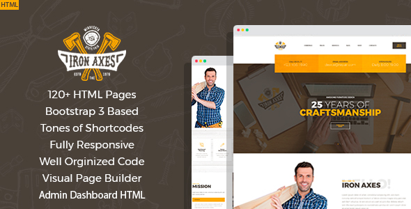 Iron Axes - Wood Work/Carpentry HTML Template with Builder and Dahsboard HTML