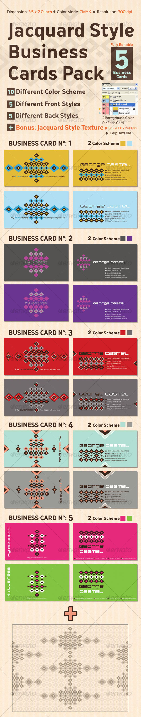 Jacquard Style Business Cards Pack - Retro/Vintage Business Cards