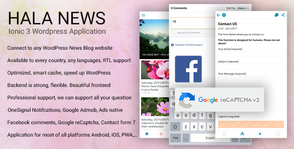 Hala News - Ionic 3 Mobile App for WordPress (Facebook comment, Google reCaptcha) Nulled Scripts