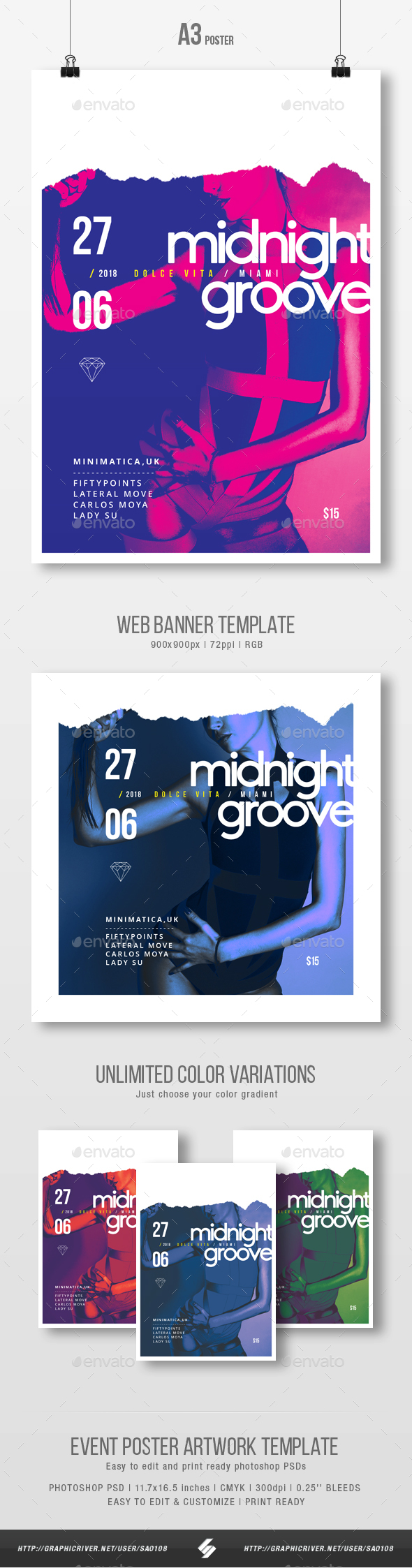 Midnight Groove - Party Flyer / Poster Artwork Template A3 - Clubs & Parties Events