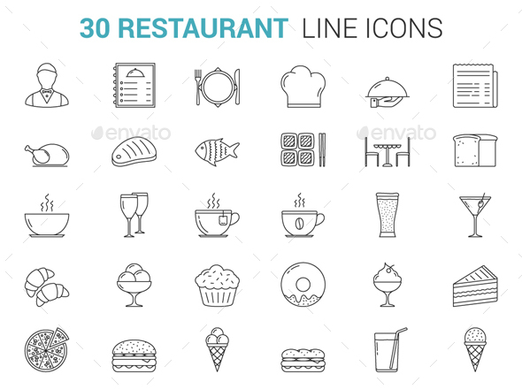 Restaurant Line Icons - Food Objects