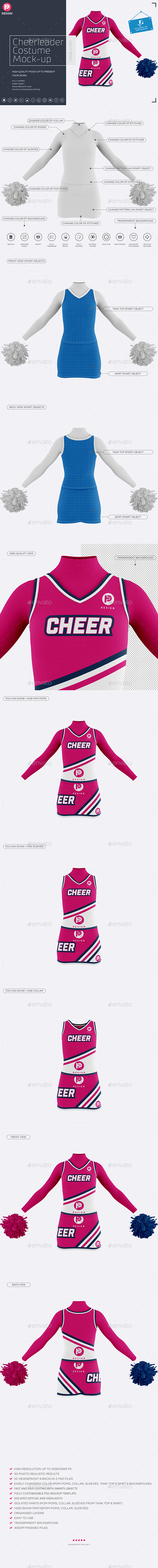 Cheerleader Costume Mock-Up (Front & Back views) - Miscellaneous Apparel