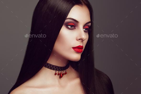 Halloween vampire woman portrait - Stock Photo - Images