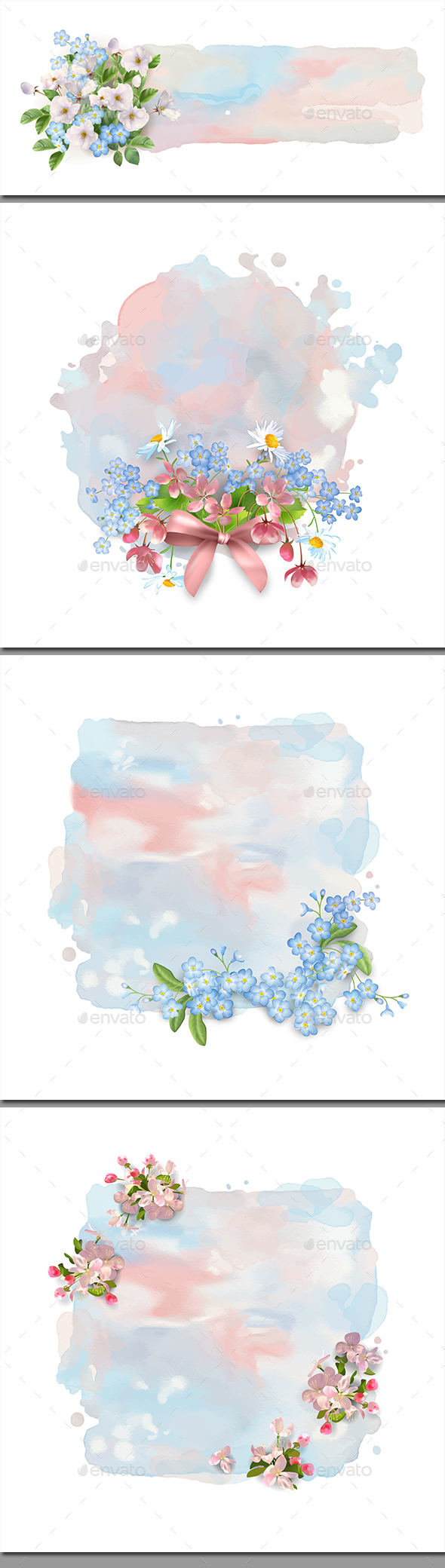 Watercolor Banner with Flowers - Backgrounds Decorative