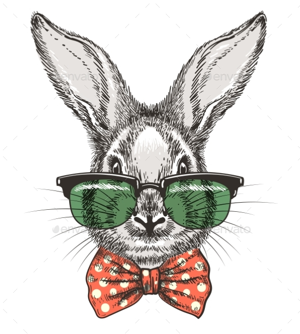 Rabbit in Glasses Sketch Portrait - Miscellaneous Vectors