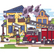 Firemen and Fire Truck with the Equipment - GraphicRiver Item for Sale
