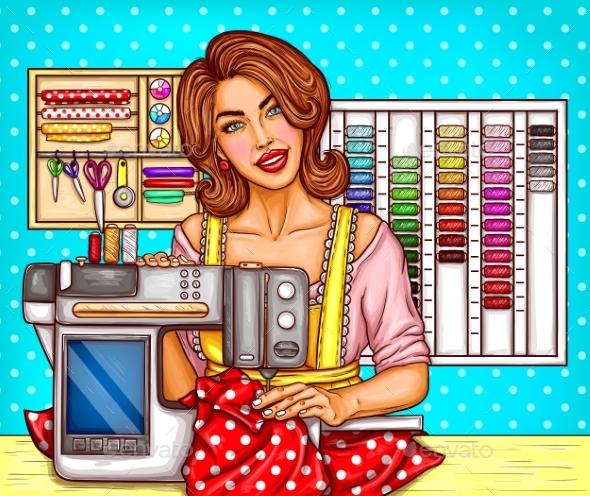 Vector Pop Art Woman Tailor Sews on a Modern