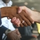 Multiracial Handshake at Office. Business Men Greeting Each Other in Airport Terminal. Shaking of - VideoHive Item for Sale