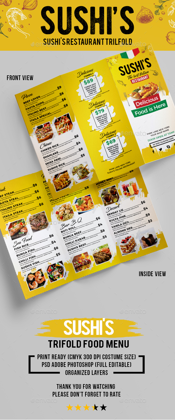 Sushi's Italian Restaurant Trifold (Volume-2) - Food Menus Print Templates