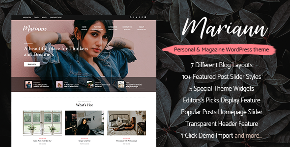 Mariann - Personal WordPress Blog Theme - Personal Blog / Magazine