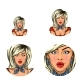 Vector Pop Art Avatar of Surprised Pin Up Blonde