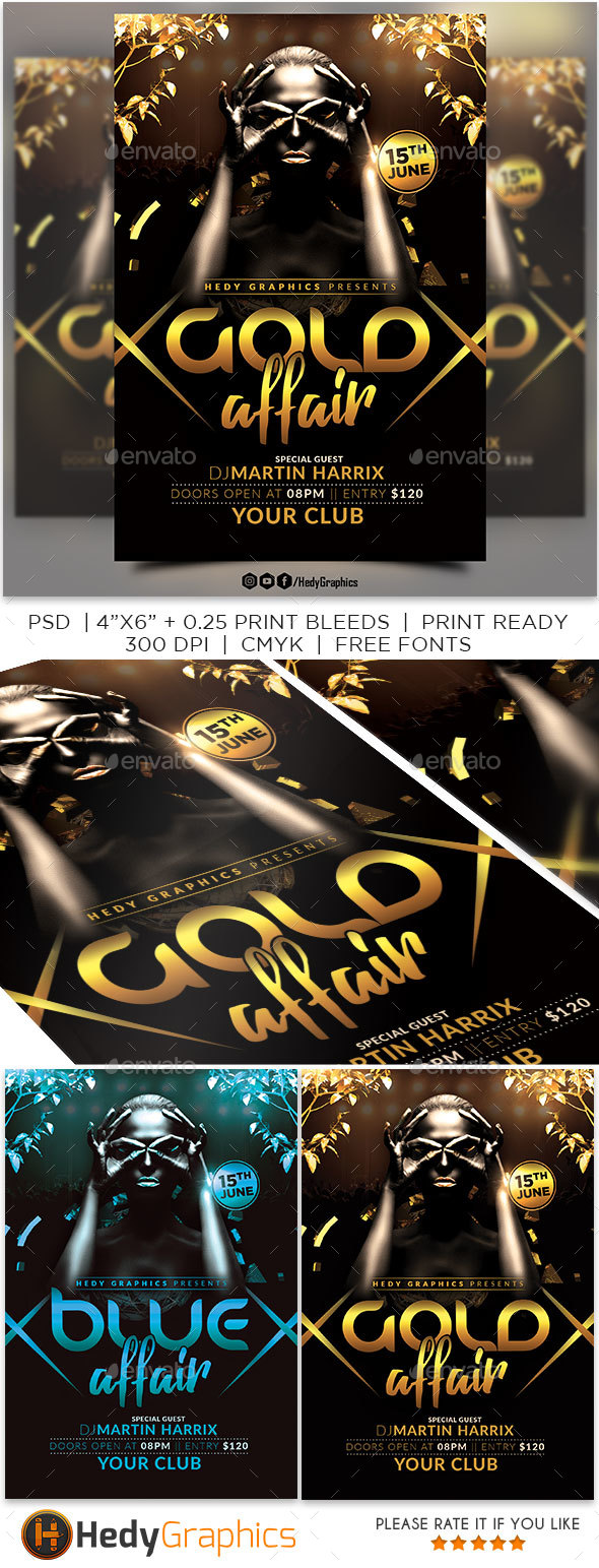 Gold Affair Flyer - Clubs & Parties Events