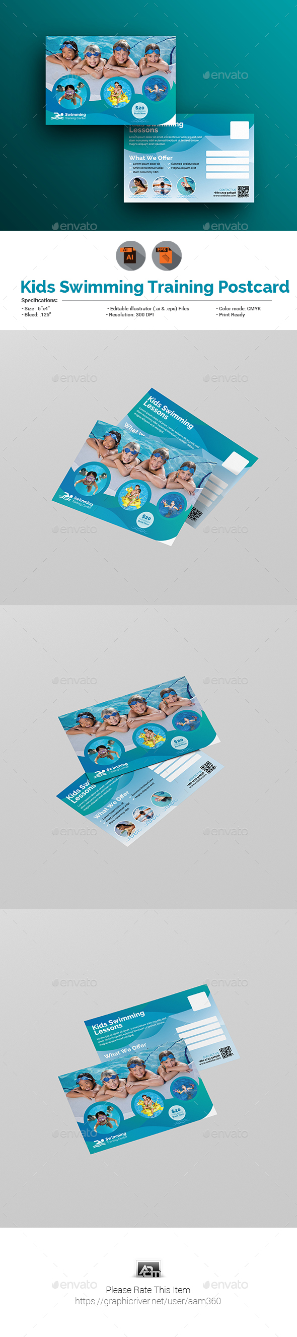 Kids Swimming Training Postcard - Cards & Invites Print Templates